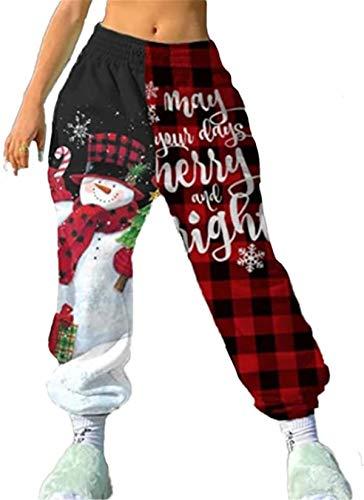 Ture King Studios Women Sweatpants,Girls Christmas Pant,Casual Elastic Waist Xmas Loose Sports Jogger Trousers (Snow Man, Medium)