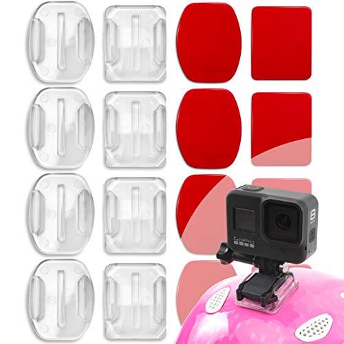 Durchsichtig Gopro Helmhalterung Klebrige Flache Gebogene Halterungen für GoPro Hero 9, Hero 8, Hero 7, Max, Fusion, 6, 5, 4, Session, 3+, 3, 2, Sport Kameras GoPro Klebepads, GoPro Halterung Helm 8er