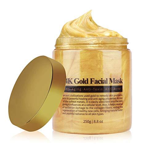 Masque facial, masque facial en or 24 carats, masque facial en collagène doré, exfoliant, anti-âge, hydratant, hydratant, soin de la peau, traitement facial anti-rides (Version améliorée)