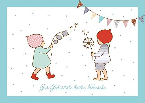 fioniony Zur Geburt die besten Wünsche Glückwunschkarte zur Geburt für Zwillinge Mädchen und Junge (Babykarte/Zwillings Baby Karte) mit 2 Wichtelmännchen und Girlande in Blau (Mit Umschlag) (1)