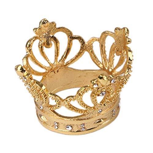 NICEXMAS - Servilletas redondas de corona dorada con brillantes brillantes para servilletas de mesa, cumpleaños, boda, 5 cm