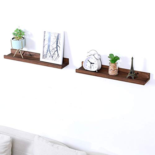 Wood Floating Shelves Picture Ledge Shelf Rustic Style Set for 2 Kitchen Farmhouse Bathroom Decor