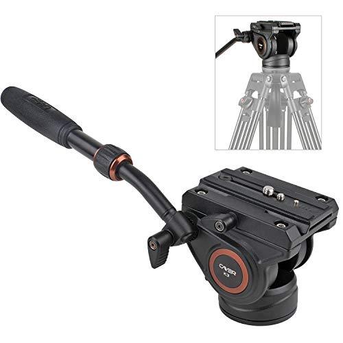 Fluidkopf, Cayer K3 Videokamera Stativ Fluid Drag Pan Kopf für Canon Nikon Sony Olympus Panasonic DSLR Kamera, mit 3/8
