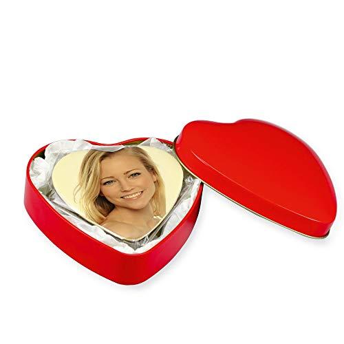 Schokoladenherz zartbitter (90mm x 85mm x 12mm) mit eigenem Foto personalisiert - in der roten herzförmigen Metallbox - Foto auf feine weiße belgische Schokolade gedruckt-gleich auf Amazon gestalten