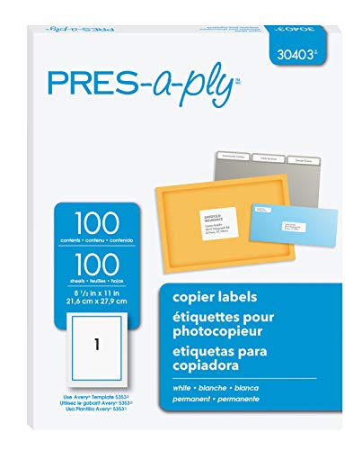 PRES-a-ply Copier Label, 8.5 x 11 inches, White, Box of 100 (30403)
