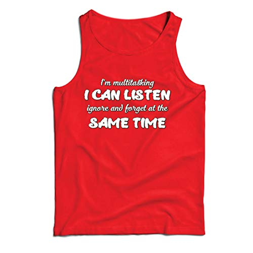 lepni.me Camisetas de Tirantes para Hombre Soy multitarea,Regalo sarcástico, Cita Graciosa (Medium Rojo Multicolor)