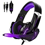 Lucakuins Gaming Headset Professional Wired Headset Colorful Light 120° Rotating Microphone Subwoofer Noise Canceling Over Ear Headphones Superior Sound Computer Game Earphones (Purple)