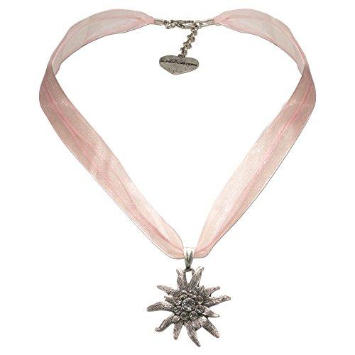 Alpenflüstern Organza-Trachtenkette Strass-Edelweiß - Damen-Trachtenschmuck Dirndlkette rosé-rosa DHK079