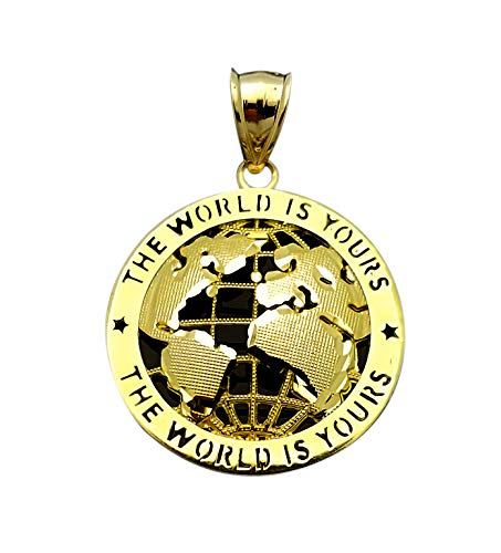 AMZ Jewelry Mens Gold Globe Pendant World Map Charm 10K Yellow Gold 1.5 inch