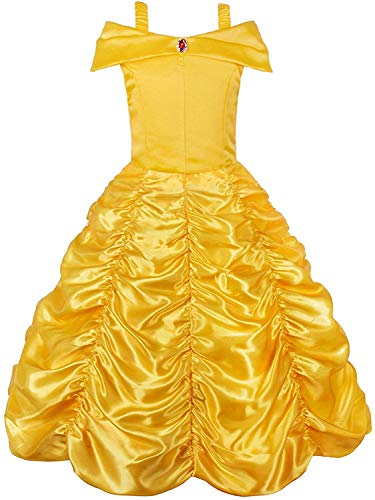 JerrisApparel Princess Dress Off Shoulder Layered Costume for Little Girl (9-10 Years, Yellow)
