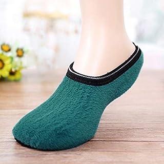 Women Men Unisex Household Slipper Non-Slip Fleece per Slippers Socks : Green