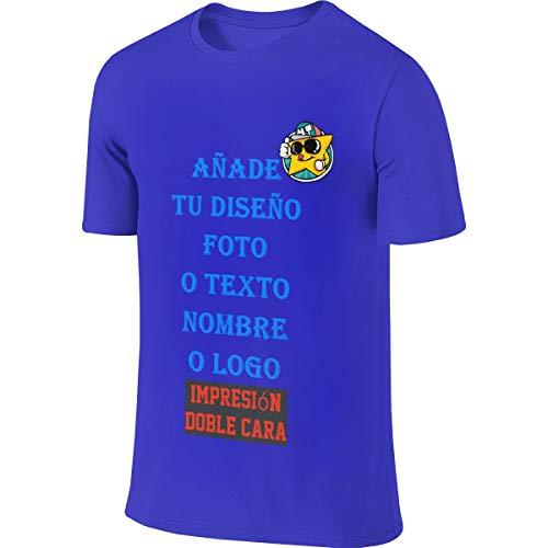 Hombre Camiseta Personalizada con Foto Delantera y Trasera con Cuello Redondo Manga Corta de Algodón (Azul,S)