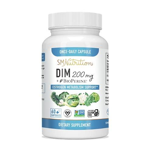 DIM Supplement 200mg - DIM Diindolylmethane Plus BioPerine 60-Day...