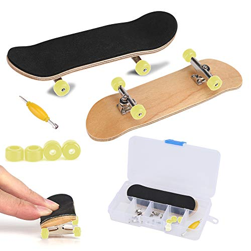 Fingerboard Finger Skateboards, Mini diapasón, Patineta de Dedos Profesional para Tech Deck Maple Wood DIY Assembly Skate Boarding Toy Juegos de Deportes Kids (Amarillo)