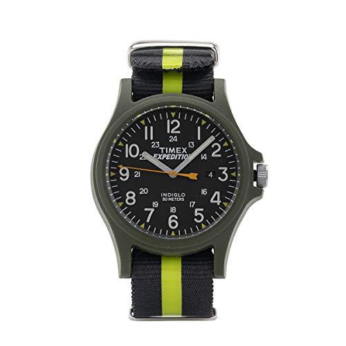 Timex Orologio al quarzo ACADIA quadrante in resina 40 MM case colore verde - quadrante nero cinturino in tessuto Carbone-Giallo Fluo 20 MM con luce notturna INDIGLO resistente all'acqua fino a 50 M d