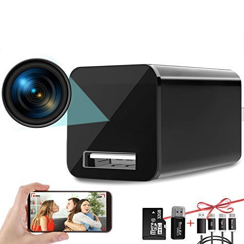 Hidden Camera Charger WiFi,USB Spy Camera Charger,Spy Cameras Wireless Hidden 1080P HD Live Streaming with App, Nanny Cam Motion Activated,with 32GB MicroSD Card Class 10