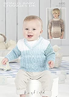 Hayfield Baby Sweaters Baby Changes Knitting Pattern 4495 DK