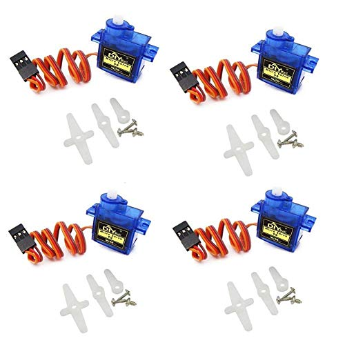 ARCELI Airplane 9g SG90 Mini Servo with Accessories 450 RC Helicopter Airplane Car Boat (Pack of 4pcs)