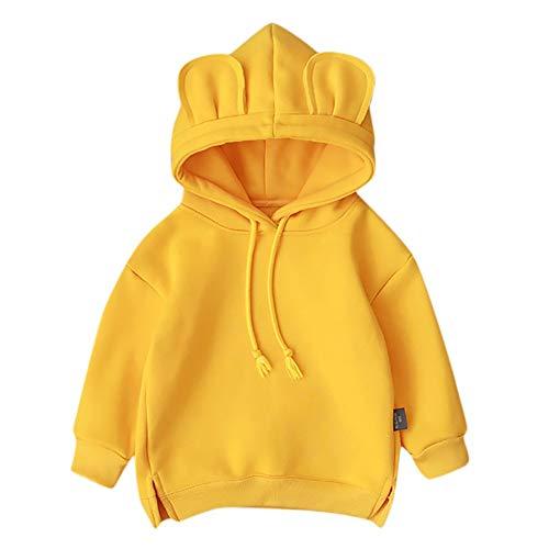 Ropa de bebé Zhansanfm – Abrigo con capucha para niños y niñas, de manga larga, monocolor, para otoño e invierno, chaqueta con capucha, suave, ligera, cálida, para 0 – 3 años (12 – 18 meses, amarillo)