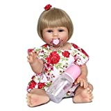 J-Love 18 pouces/48 cm Belle Soft Rebirth Baby Dolls Full Silicone Handmade Toddler Toy Realistic Washable Newbirth Baby Girl Lifelike Blue Eyes Boy and Girl for Kids Collectibles