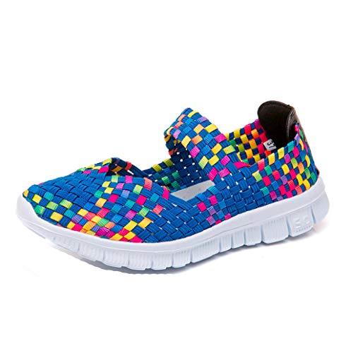 Mujeres Mary Jane Sandalias Deportivas Verano Transpirable Entrenador al Aire Libre Color sólido Tejido elástico Antideslizante Deslizamiento en tamaño 35-41 Zapatos Casuales