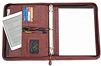 Executive Office Solutions Professional Business Padfolio Portfolio Briefcase Style Organizer Folder with Handles Notepad and 3 Ring Binder Synthetic Leather – Brown (F044)