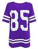 Real Life Fashion LTD - Camiseta de fútbol americano para mujer (talla 85), diseño de Varsity Morado Morado ( 40-42