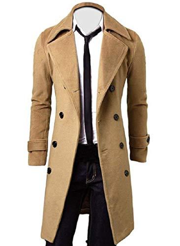 AKAUFENG Herrenmantel Lang Winterjacke, College Jacke Slim Fit warm Mantel Trenchcoat Outfit