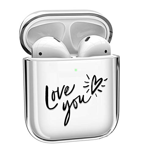 Transparent Case Compatible AirPod Case Cover, Case TPU Protective Cover Soft Shockproof Case Compatible with Apple AirPods Charging Case 2 & 1 [Front LED Visible] - Love