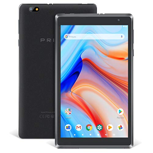 Android Tablet Pritom 8 Zoll Android 9.0 OS Tablet, 2 GB RAM, 32 GB ROM, Quad-Core-Prozessor, HD IPS-Bildschirm, 2.0 Front- und 8.0 MP-Rückfahrkamera, WLAN, Bluetooth, Tablet-PC (Schwarz)