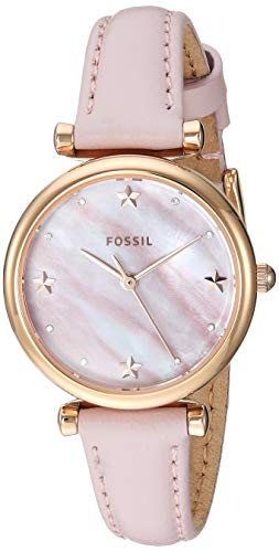 Fossil Women's Mini Carlie Stainless Steel Quartz Watch with Leather Strap, Pink, 22 (Model: ES4525)