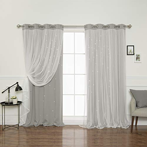 Best Home Fashion Tulle Overlay Star Cut Out Blackout Curtains - Stainless Steel Grommet Top - Dove - 52