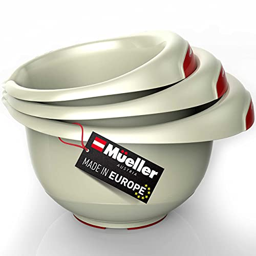 Mueller Mixing Bowls Set of 3, Heaviest Duty Baking Bowl Mixing Set with Non-slip Bottom, Pour Spout, Space Saving, for Cooking, Food Prep, Baking, Beige
