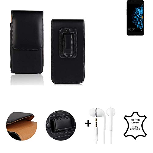 K-S-Trade® Leder Gürtel Tasche + Kopfhörer Für Hisense A2 Seitentasche Belt Pouch Holster Handy-Hülle Gürteltasche Schutz-Hülle Etui Schwarz 1x