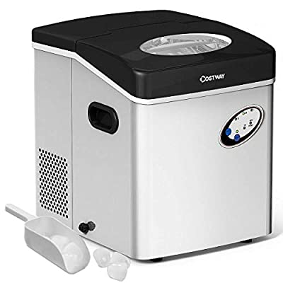 COSTWAY Ice Maker Machine, 48LBS/24H Portable Ice Maker Clear Operation Control Panel Stainless Steel Finish Portable and Compact Ice Making Machine High Efficiency Makes with Ice Scoop (48LBS/24H)