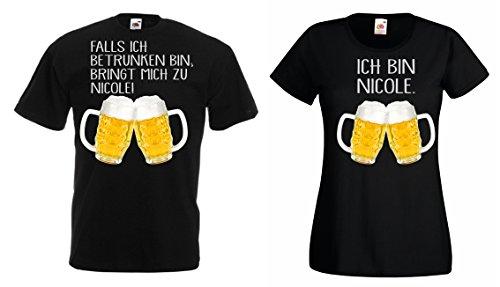 TRVPPY Partner Herren + Damen T-Shirt/Falls ICH BETRUNKEN Bin,BRINGT Mich ZU. mit Wunschname, Herren L, Damen XL, Schwarz