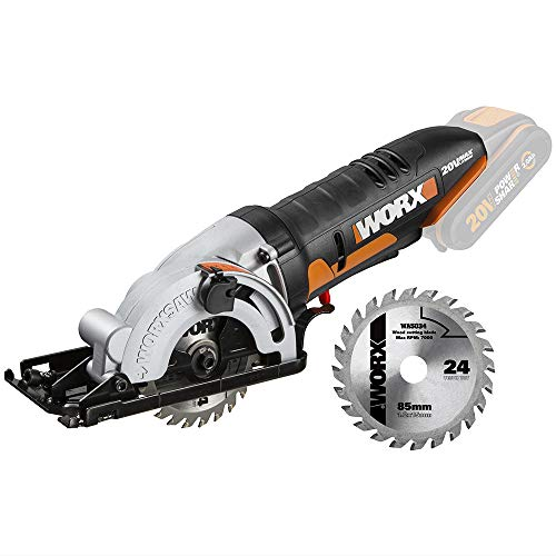 Worx WX527.9 Akku Handkreissäge Worxsaw 20V - Tauch- und Sägeschnitte bis zu 27mm, Einhandbedienung, Ideal für Holz, Dünnes Metall, Keramik, Kunststoffe - ohne Akku und Ladegerät
