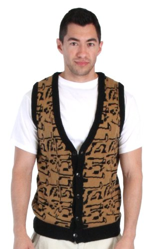 80's Movie Ferris Bueller's Day Off Button Up Costume Sweater Vest (Adult XX-Large) Black/Gold