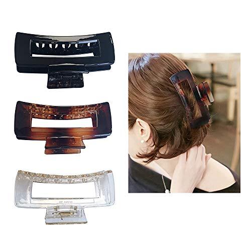 Kavya® Pack de 3 pinzas grandes para el pelo, antideslizante, pinza para la mandíbula para mujeres, niñas, agarre firme, no se resbala, pinzas de garra