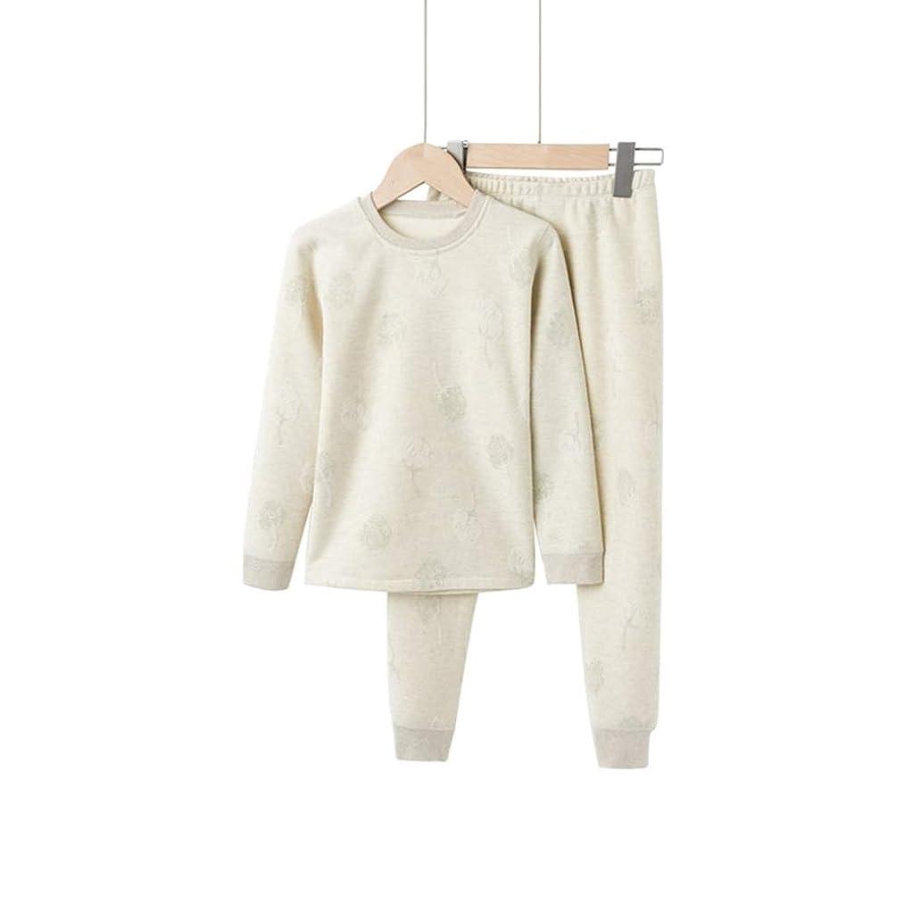 ワンダー破産計器BAOMEI パジャマ 子供の熱下着プラスベルベットの男の子の冬のスーツ女の子の肥厚秋服Qiuku中年コットンセーター (Color : Light green plus velvet, Size : 130cm)