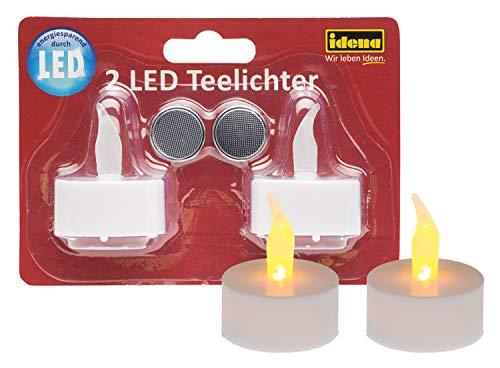 Idena 408982 2 LED Teelichter, elektrische Kerzen mit flackerndem Licht, inklusive Batterien, Deko für Hochzeit, Party, Weihnachten, Ostern, als Stimmungslicht