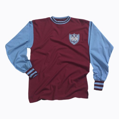 Score Draw Official Retro West Ham United Mens 1964 FA Cup Final shirt XX Large Claret And Sky