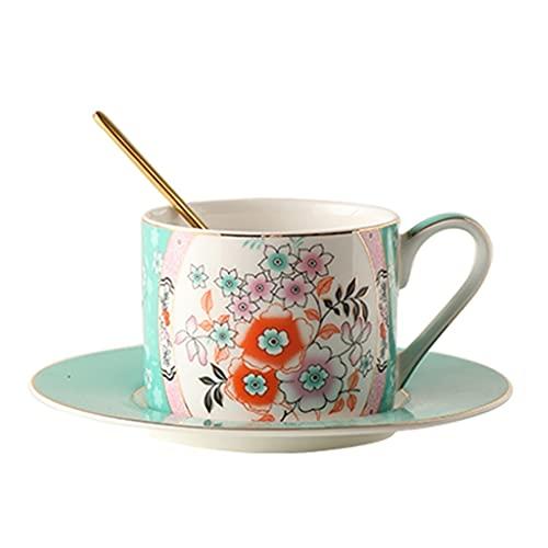 Taza de Latte Art Set de taza de té británica, taza de café y combinación de platos, taza de té de la flor del vintage (210 ml), hueso de alto grado China, taza de leche y taza de café para el hogar y