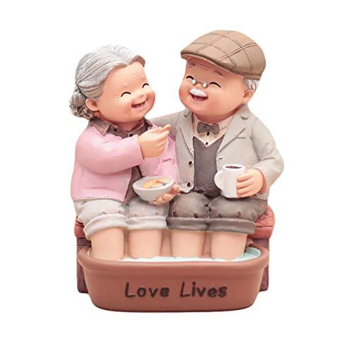 WINOMO Nonno E Nonna Figurine Amanti Coppia Statua Scultura Anniversario di Matrimonio Cake Topper Figurine Regali (Colore Misto)