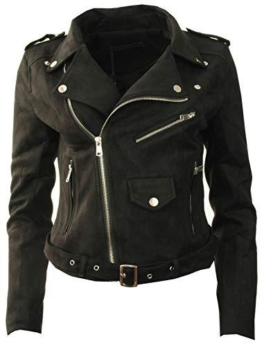 Trend Alamode New Womens Faux Suede Floral Plain Cropped Ladies Biker Jacket Size 8 10 12 14[Black,Medium (UK10)]