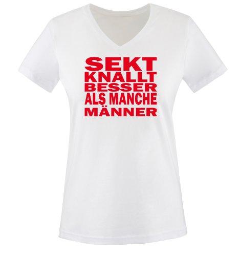 Sekt knallt Besser als Männer - Einfarbig - Damen V-Neck T-Shirt - Weiss/Rot Gr. M