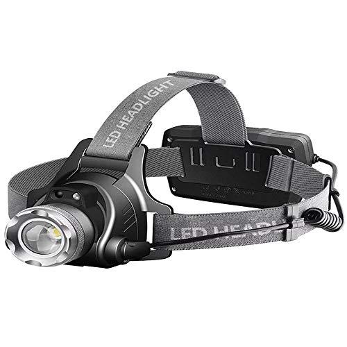 N/H LED faro, linterna de faro superbrillante, 3 modos zoomable para correr, senderismo, camping, pesca, caza (negro)