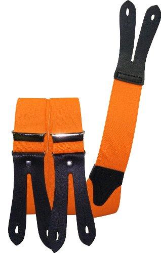 Harrys-Collection Hosenträger Knopfloch echte Lederpatten 11 Farben, Farben:neonorange, Größen:120 cm
