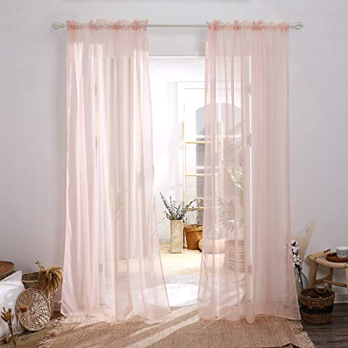 Deconovo Rod Pocket Window Drapes for Kitchen Pink Sheer Silky Voile Curtains for Small Windows 38x45 Inch Pale Pink 2 Panels