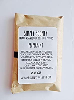Zero Waste 6 Month Supply Organic Vegan Fluoride Free Tooth Powder Peppermint Flavor- Ships Without Any Plastic Packaging